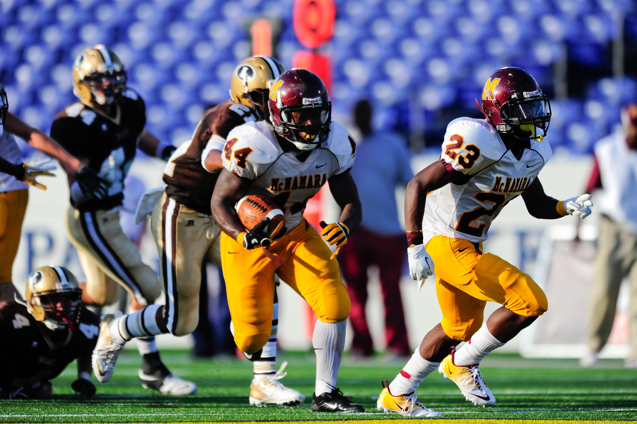 Sept 9, 2011 : McNamara' s Kevaugn Townsend (44) rushes during action at the 2011 Patriot Classic Football tournament at the United States Naval Academy Stadium in Annapolis, Maryland. The Landon Bears defeated the McNamara team 29-14.