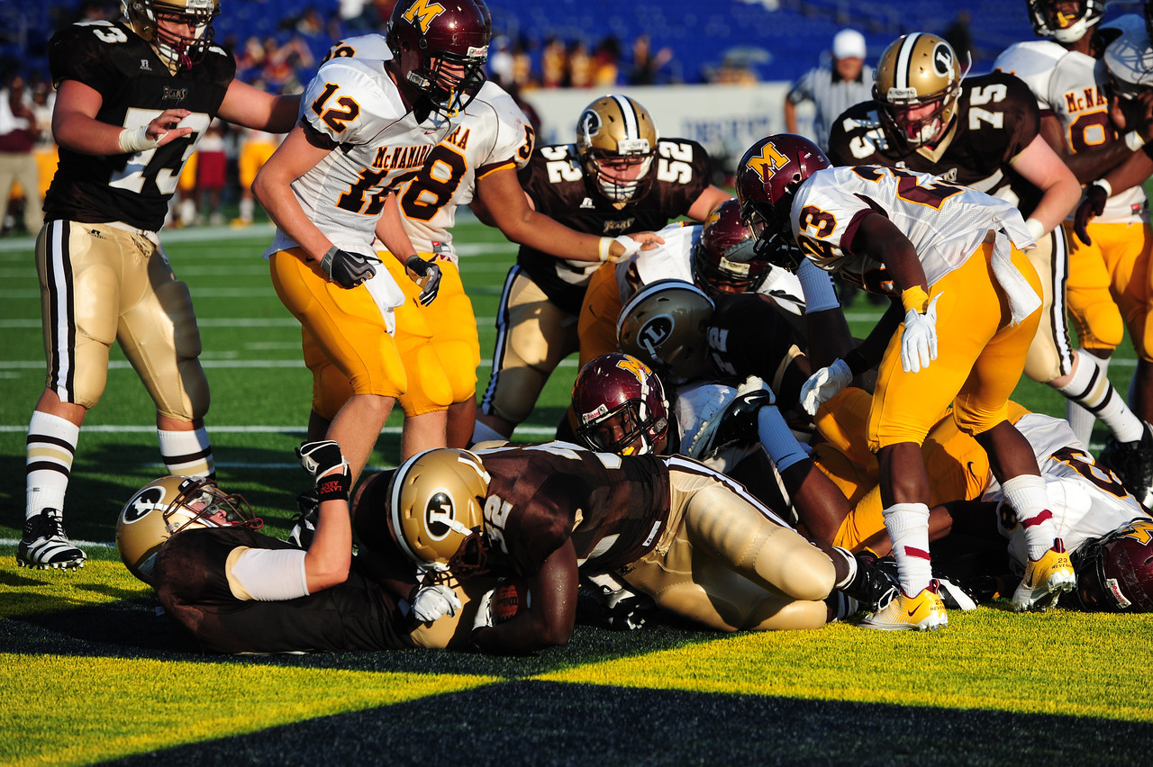 Sept 9, 2011 : Landon's Myles Allen (32) dives in for a TD during action at the 2011 Patriot Classic Football tournament at the United States Naval Academy Stadium in Annapolis, Maryland. The Landon Bears defeated the McNamara team 29-14.