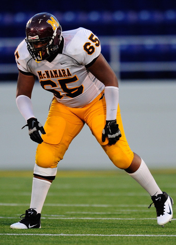 Sept 9, 2011 : McNamara's OT Damien Prince (65) awaits the snap during action at the 2011 Patriot Classic Football tournament at the United States Naval Academy Stadium in Annapolis, Maryland. The Landon Bears defeated the McNamara team 29-14.