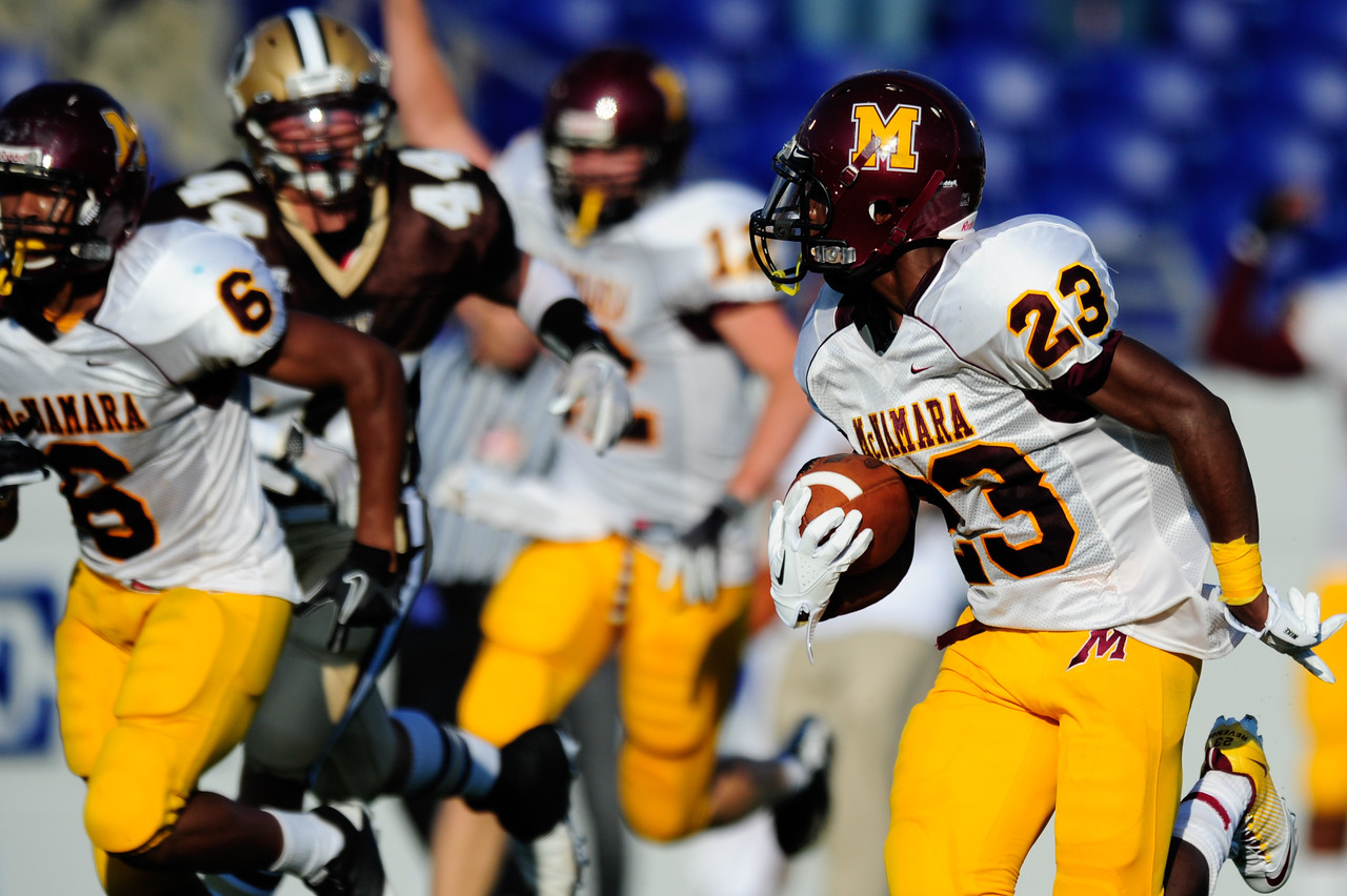 Sept 9, 2011 : McNamara's Tony Squirewell Jr. (23) runs for a huge gain during action at the 2011 Patriot Classic Football tournament at the United States Naval Academy Stadium in Annapolis, Maryland. The Landon Bears defeated the McNamara team 29-14.