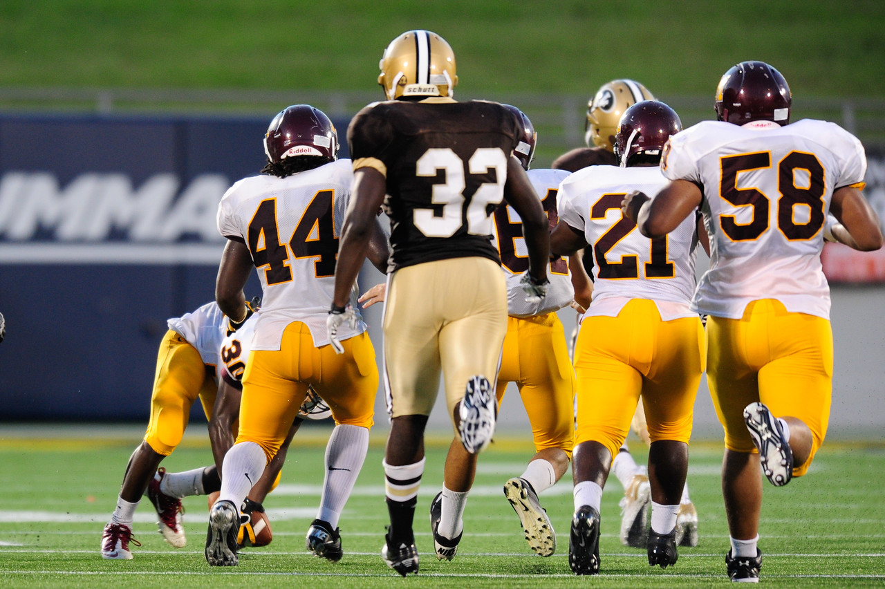 Sept 9, 2011 : McNamara players scramble to recover a fumble during action at the 2011 Patriot Classic Football tournament at the United States Naval Academy Stadium in Annapolis, Maryland. The Landon Bears defeated the McNamara team 29-14.