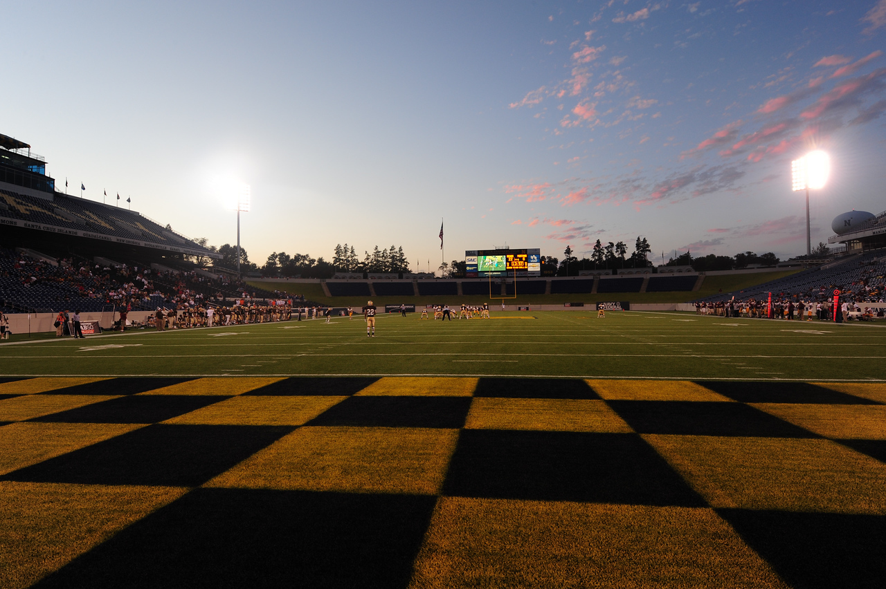 Sept 9, 2011 : The dusk view from the end zone at Naval Academy Stadium during action at the 2011 Patriot Classic Football tournament at the United States Naval Academy Stadium in Annapolis, Maryland. The Landon Bears defeated the McNamara team 29-14.