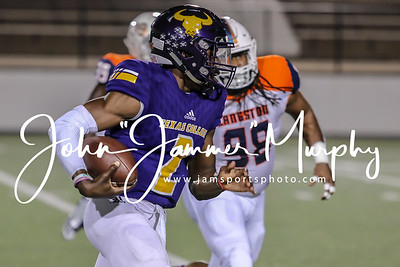 Texas College QB #2 Vontyne Williams advances the ball against Langston University. photo by John Murphy