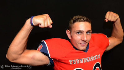 Las Plumas football players Jordan Leach during a photo shoot Friday, Aug. 19, 2016, at the Enterprise-Record in Chico, California. (Dan Reidel -- Enterprise-Record)