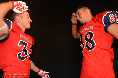 Las Plumas football players Garrett Mauldin and Jordan Leach during a photo shoot Friday, Aug. 19, 2016, at the Enterprise-Record in Chico, California. (Dan Reidel -- Enterprise-Record)
