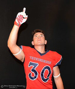 Las Plumas football player Garrett Mauldin during a photo shoot Friday, Aug. 19, 2016, at the Enterprise-Record in Chico, California. (Dan Reidel -- Enterprise-Record)