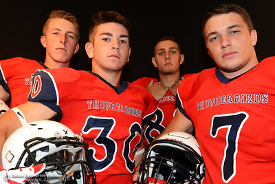 Las Plumas football players Tanner Allen, Garrett Mauldin, Jordan Leach and Nick Greer during a photo shoot Friday, Aug. 19, 2016, at the Enterprise-Record in Chico, California. (Dan Reidel -- Enterprise-Record)