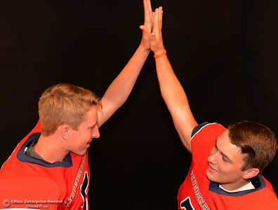 Las Plumas football players Tanner Allen and Nick Greer during a photo shoot Friday, Aug. 19, 2016, at the Enterprise-Record in Chico, California. (Dan Reidel -- Enterprise-Record)