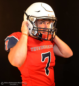 Las Plumas football player Nick Greer during a photo shoot Friday, Aug. 19, 2016, at the Enterprise-Record in Chico, California. (Dan Reidel -- Enterprise-Record)