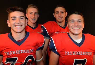 Las Plumas football players Tanner Allen, Garrett Mauldin, Nick Greer and Jordan Leach during a photo shoot Friday, Aug. 19, 2016, at the Enterprise-Record in Chico, California. (Dan Reidel -- Enterprise-Record)
