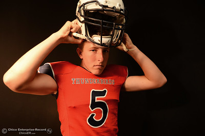 Las Plumas football player Tanner Allen during a photo shoot Friday, Aug. 19, 2016, at the Enterprise-Record in Chico, California. (Dan Reidel -- Enterprise-Record)