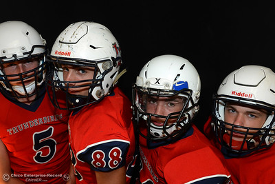 Las Plumas football players Tanner Allen, Jordan Leach, Garrett Mauldinand Nick Greer and during a photo shoot Friday, Aug. 19, 2016, at the Enterprise-Record in Chico, California. (Dan Reidel -- Enterprise-Record)