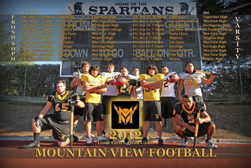 2012 MV Football Schedule Poster
