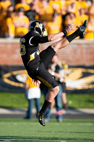 7 November 2009: Missouri punter Jake Harry (36) punts the ball away during the Baylor Bears 40-32 win over the Missouri Tigers at Memorial Stadium in Columbia, Missouri.