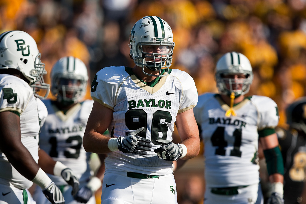 7 November 2009: Baylor defensive end Zac Scotton (96) during the Baylor Bears 40-32 win over the Missouri Tigers at Memorial Stadium in Columbia, Missouri.