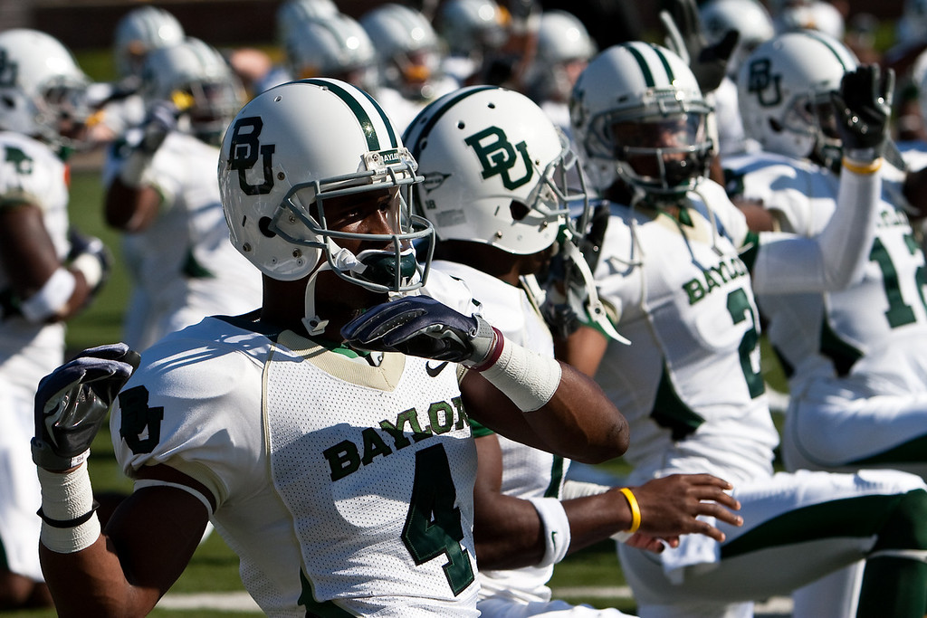 7 November 2009: The Baylor Bears perform stretching exercises before their 40-32 win over the Missouri Tigers at Memorial Stadium in Columbia, Missouri.
