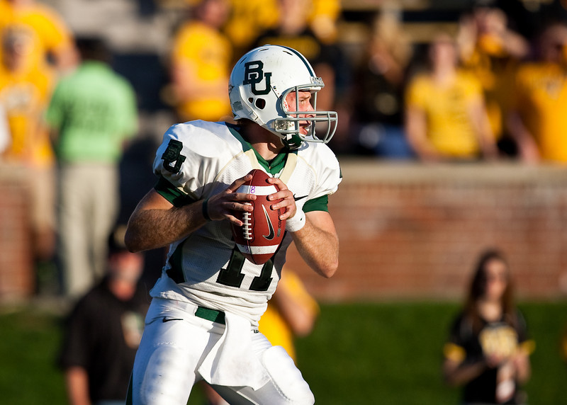 7 November 2009: Baylor quarterback Nick Florence drops back to pass during the Baylor Bears 40-32 win over the Missouri Tigers at Memorial Stadium in Columbia, Missouri.