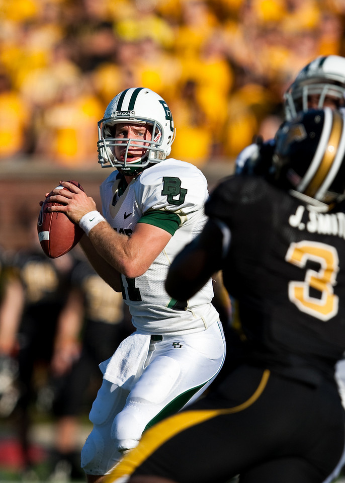 7 November 2009: Baylor quarterback Nick Florence (11) prepares to throw during the Baylor Bears 40-32 win over the Missouri Tigers at Memorial Stadium in Columbia, Missouri.