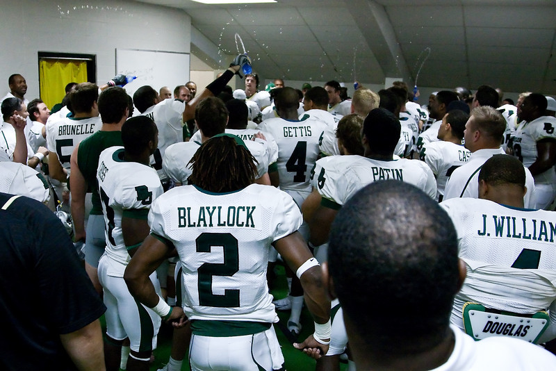 7 November 2009: Baylor head coach Art Briles celebrates with his team in the locker room after the Baylor Bears 40-32 win over the Missouri Tigers at Memorial Stadium in Columbia, Missouri.