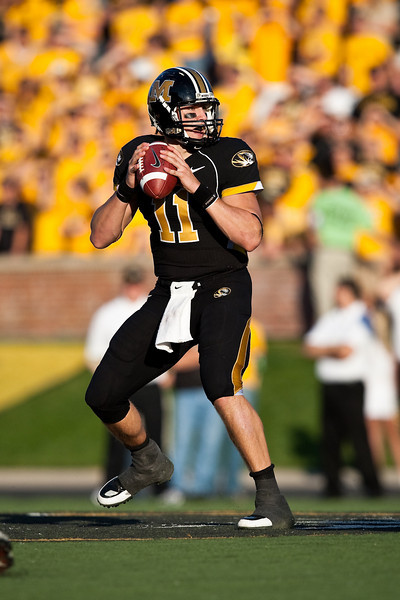 7 November 2009: Missouri quarterback Blaine Gabbert (11) looks for an open receiver during the Baylor Bears 40-32 win over the Missouri Tigers at Memorial Stadium in Columbia, Missouri.