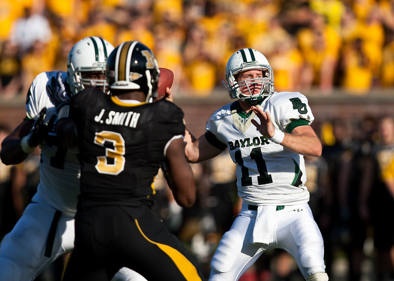 7 November 2009: Baylor quarterback Nick Florence (11) throws the ball during the Baylor Bears 40-32 win over the Missouri Tigers at Memorial Stadium in Columbia, Missouri.