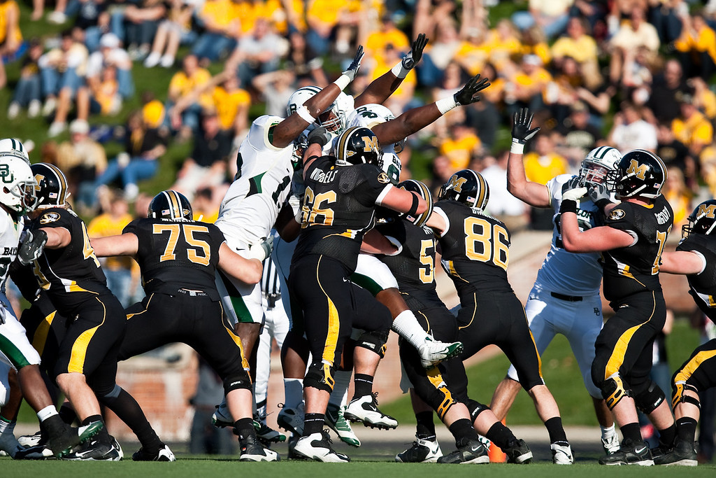 7 November 2009: Baylor tries to block a field goal attempt during the Baylor Bears 40-32 win over the Missouri Tigers at Memorial Stadium in Columbia, Missouri.