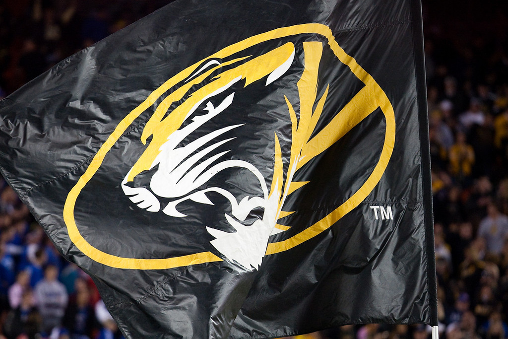 28 November 2009: The Missouri flag during the Tigers 41-39 win over the Kansas Jayhawks at Arrowhead Stadium in Kansas City, Missouri.