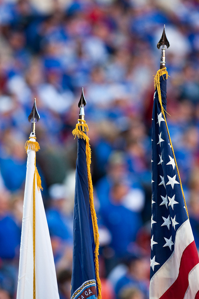 28 November 2009: The flags are brought onto the field prior to the Missouri Tigers 41-39 win over the Kansas Jayhawks at Arrowhead Stadium in Kansas City, Missouri.