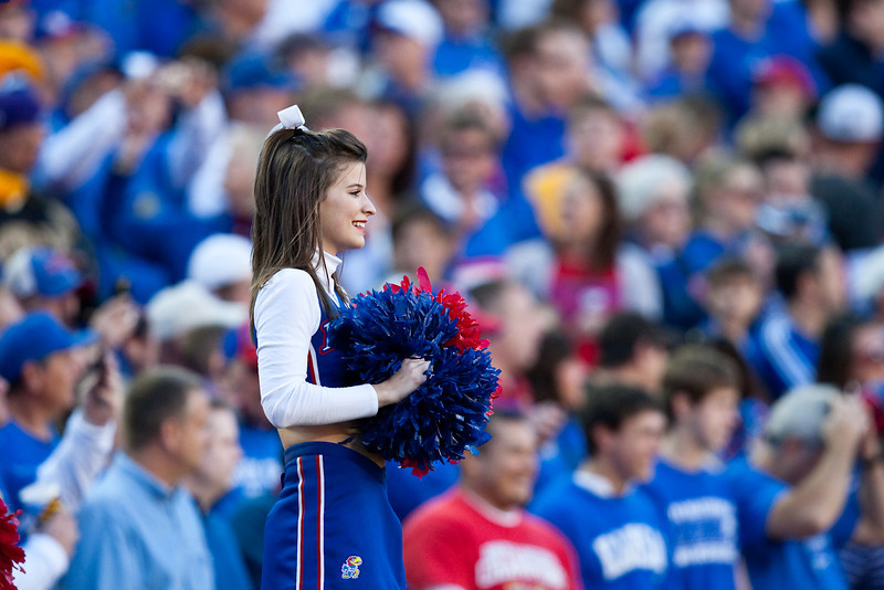 28 November 2009: A Kansas cheerleader entertains the crowd during the Missouri Tigers 41-39 win over the Kansas Jayhawks at Arrowhead Stadium in Kansas City, Missouri.