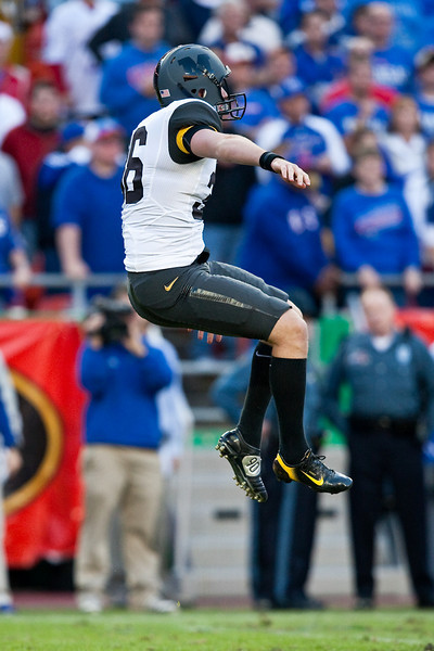28 November 2009: Missouri punter Jake Harry (36) punts the ball away during the Missouri Tigers 41-39 win over the Kansas Jayhawks at Arrowhead Stadium in Kansas City, Missouri.