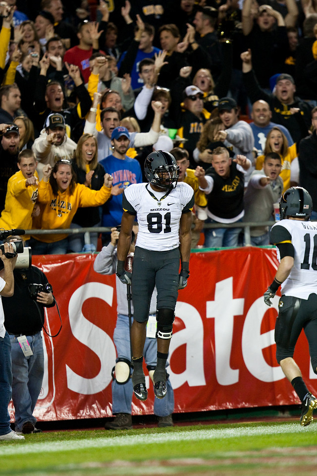 28 November 2009: Missouri wide receiver Danario Alexander (81) celebrates after a 68 yard touchdown reception during the Missouri Tigers 41-39 win over the Kansas Jayhawks at Arrowhead Stadium in Kansas City, Missouri.
