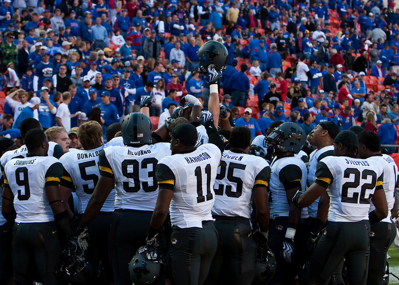 28 November 2009: The Missouri Tigers huddle up before their 41-39 win over the Kansas Jayhawks at Arrowhead Stadium in Kansas City, Missouri.