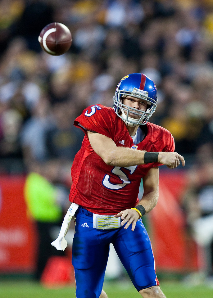 28 November 2009: Kansas quarterback Todd Reesing (5) throws the ball during the Missouri Tigers 41-39 win over the Kansas Jayhawks at Arrowhead Stadium in Kansas City, Missouri.