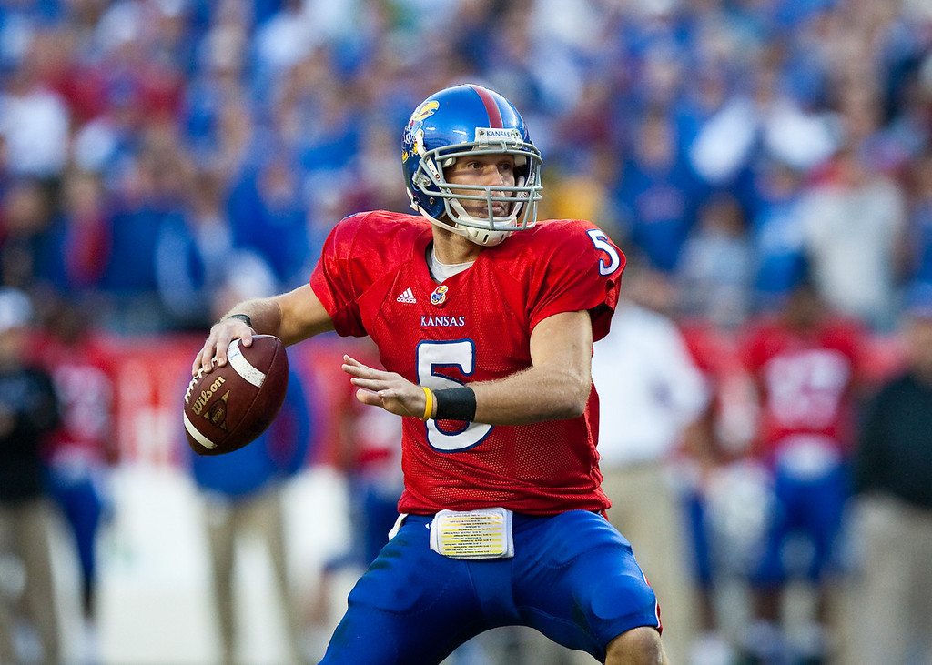 28 November 2009: Kansas quarterback Todd Reesing (5) drops back to pass during the Missouri Tigers 41-39 win over the Kansas Jayhawks at Arrowhead Stadium in Kansas City, Missouri.