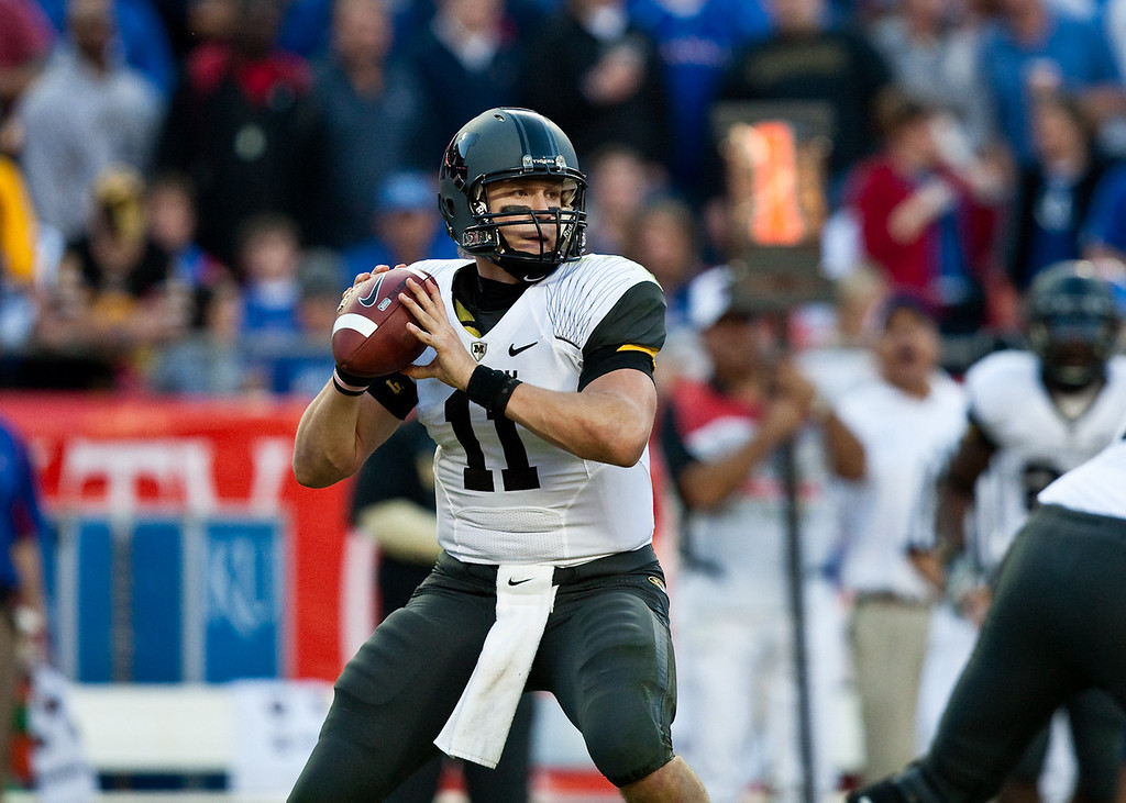 28 November 2009: Missouri quarterback Blaine Gabbert (11) prepares to throw during the Missouri Tigers 41-39 win over the Kansas Jayhawks at Arrowhead Stadium in Kansas City, Missouri.