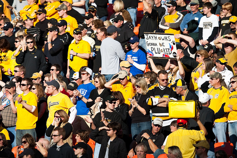 28 November 2009: A Missouri fan holds up a sign during the Missouri Tigers 41-39 win over the Kansas Jayhawks at Arrowhead Stadium in Kansas City, Missouri.