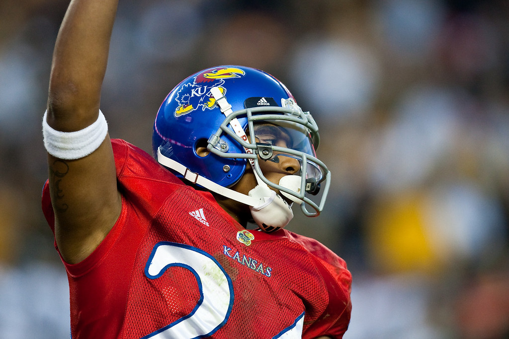 28 November 2009: Kansas wide receiver Bradley McDougald (24) during the Missouri Tigers 41-39 win over the Kansas Jayhawks at Arrowhead Stadium in Kansas City, Missouri.