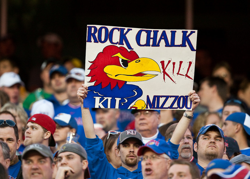 28 November 2009: A Kansas fan holds up a sign during the Missouri Tigers 41-39 win over the Kansas Jayhawks at Arrowhead Stadium in Kansas City, Missouri.
