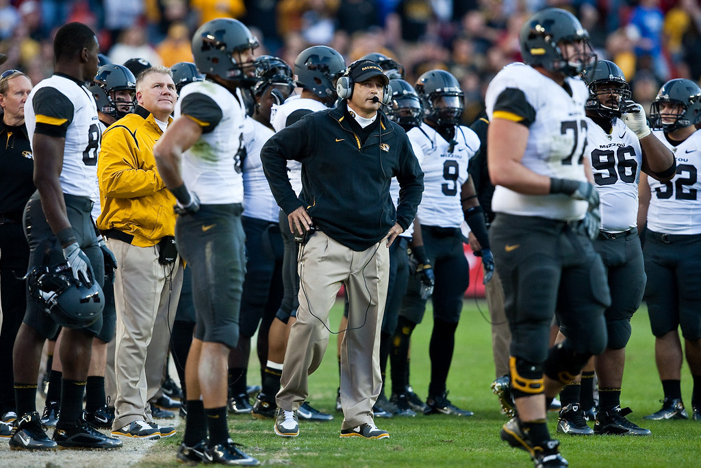 28 November 2009: Missouri head coach Gary Pinkel watches a reply on the scoreboard during the Missouri Tigers 41-39 win over the Kansas Jayhawks at Arrowhead Stadium in Kansas City, Missouri.