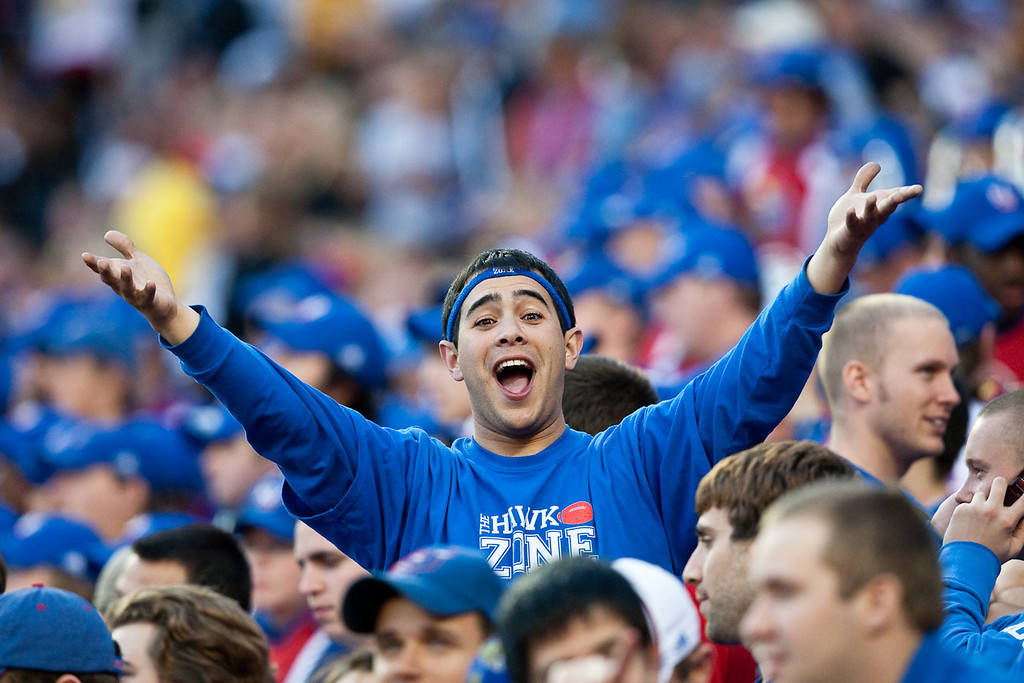 28 November 2009: A Kansas fan poses for the camera during the Missouri Tigers 41-39 win over the Kansas Jayhawks at Arrowhead Stadium in Kansas City, Missouri.