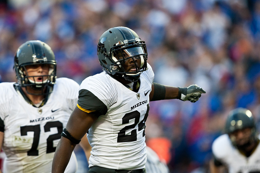 28 November 2009: Missouri running back Derrick Washington (24) celebrates after his 1 yard touchdown run during the Missouri Tigers 41-39 win over the Kansas Jayhawks at Arrowhead Stadium in Kansas City, Missouri.