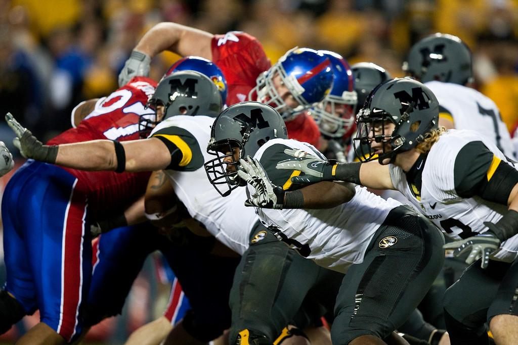 28 November 2009: The Missouri line blocks for an extra point attempt during the Missouri Tigers 41-39 win over the Kansas Jayhawks at Arrowhead Stadium in Kansas City, Missouri.
