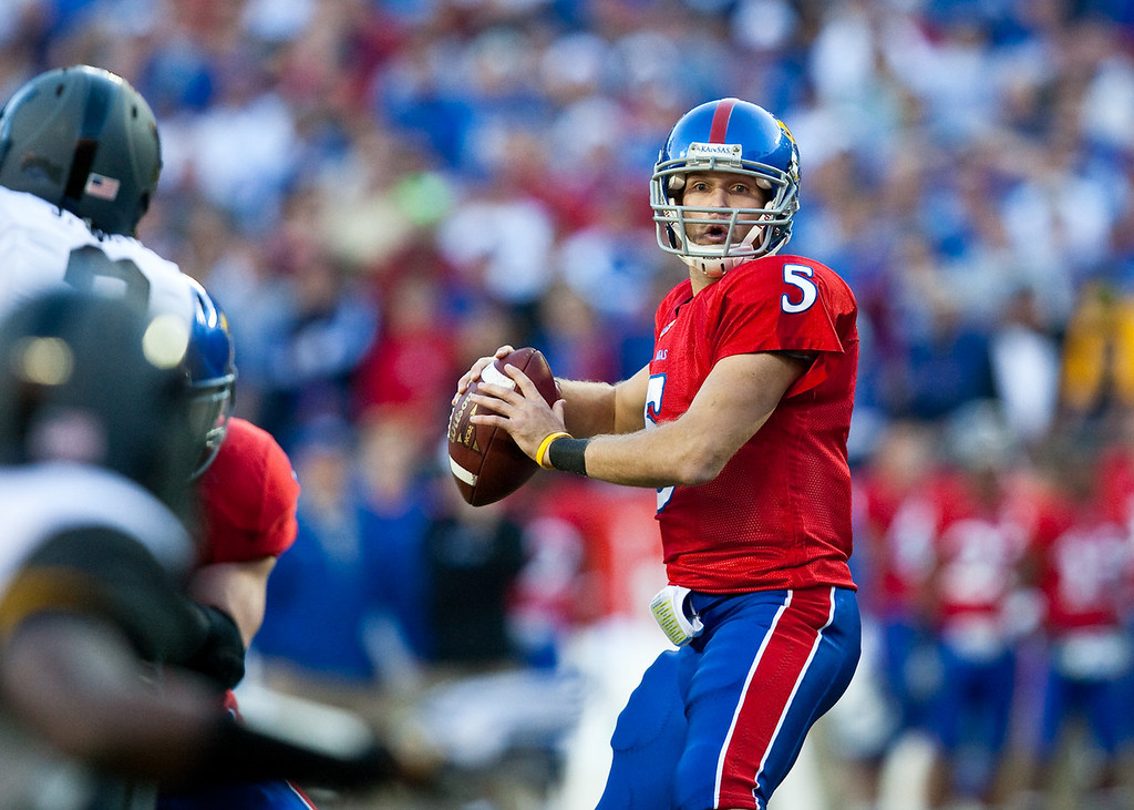 28 November 2009: Kansas quarterback Todd Reesing (5) looks to pass during the Missouri Tigers 41-39 win over the Kansas Jayhawks at Arrowhead Stadium in Kansas City, Missouri.