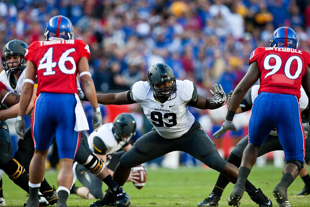 28 November 2009: Missouri defensive lineman Terrell Resonno (93) blocks during a field goal attempt at the Missouri Tigers 41-39 win over the Kansas Jayhawks at Arrowhead Stadium in Kansas City, Missouri.