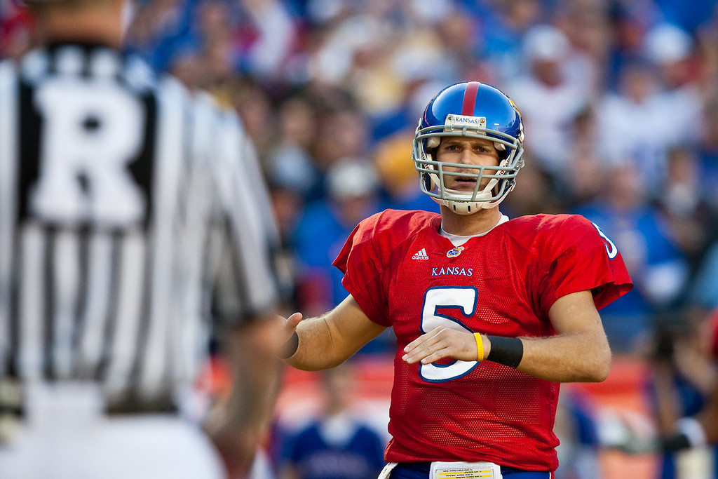 28 November 2009: Kansas quarterback Todd Reesing (5) looks to the referee and questions a call during the Missouri Tigers 41-39 win over the Kansas Jayhawks at Arrowhead Stadium in Kansas City, Missouri.