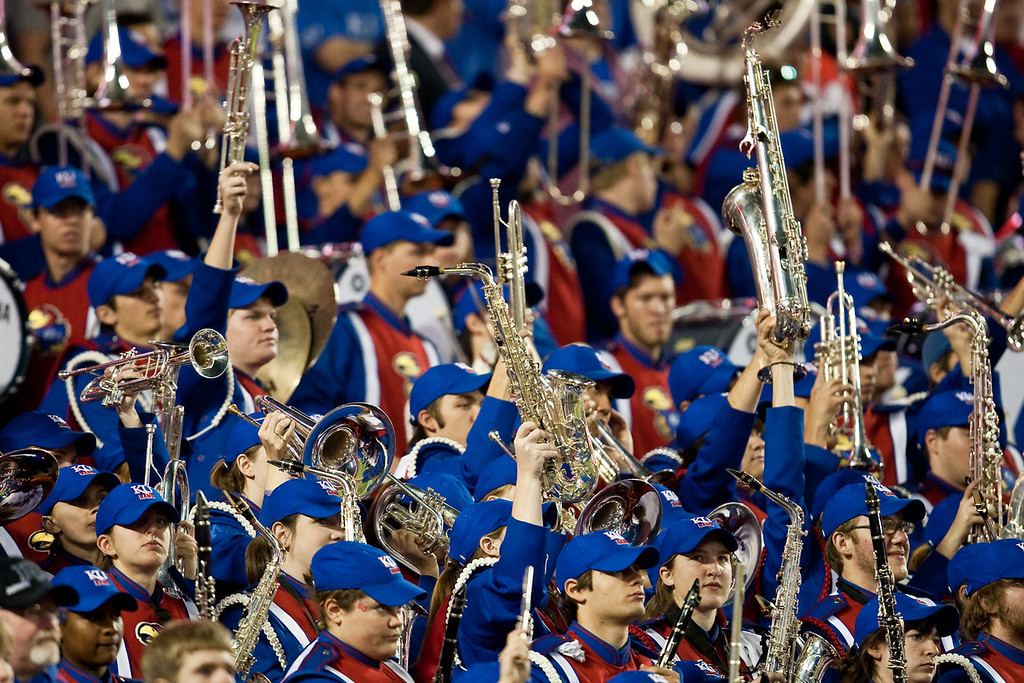 28 November 2009: Kansas band members hold up their instruments during a kickoff at the Missouri Tigers 41-39 win over the Kansas Jayhawks at Arrowhead Stadium in Kansas City, Missouri.