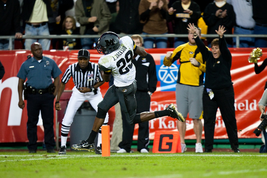 28 November 2009: Missouri wide receiver Jerrell Jackson (29) runs for a 37 yard touchdown during the Missouri Tigers 41-39 win over the Kansas Jayhawks at Arrowhead Stadium in Kansas City, Missouri.