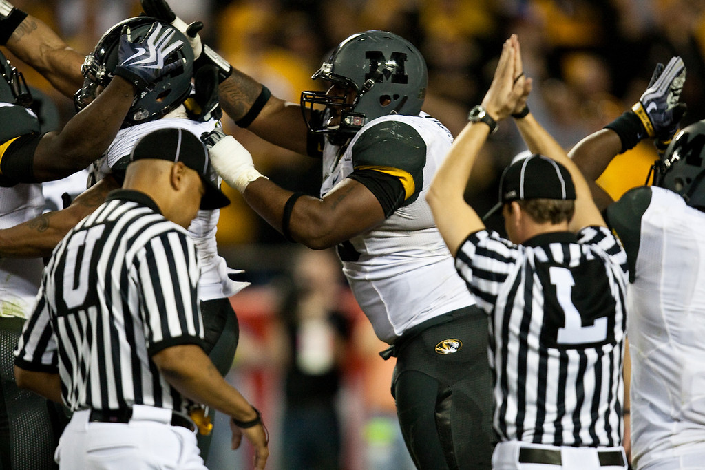 28 November 2009: The Missouri defense celebrates after forcing a safety during the Missouri Tigers 41-39 win over the Kansas Jayhawks at Arrowhead Stadium in Kansas City, Missouri.