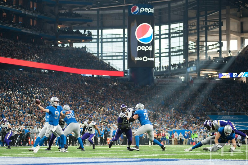 Nov 23, 2017; Detroit, MI, USA; Detroit Lions quarterback Matthew Stafford (9) drops back to pass during the fourth quarter against the Minnesota Vikings at Ford Field. Mandatory Credit: Tim Fuller-USA TODAY Sports