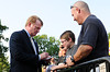 Aug 4, 2012; Canton, OH, USA; NFL commissioner Roger Goodell signs autographs for fans before the start of the 2012 Pro Football Hall of Fame Enshrinement at Fawcett Stadium. Mandatory Credit: Tim Fuller-US PRESSWIRE